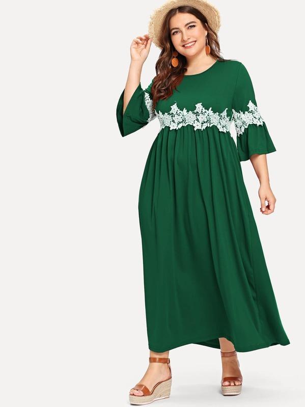 fe5cba99a الثوب القياس الكبير أكمام اللوتس أزهار نقوش لوازم الخياطة فستان | شي إن