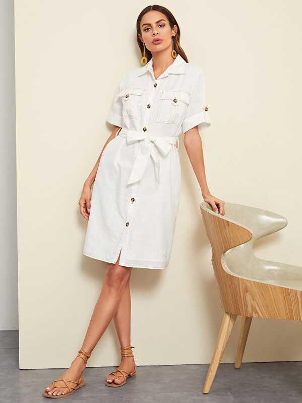 9f62773351 Rolled Tab Sleeve Pocket Front Utility Shirt Dress   SHEIN