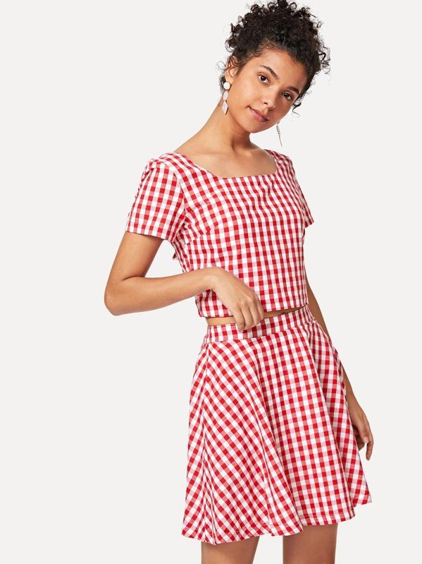 474e34495f Square Neck Plaid Crop Top & Skirt Set | SHEIN UK