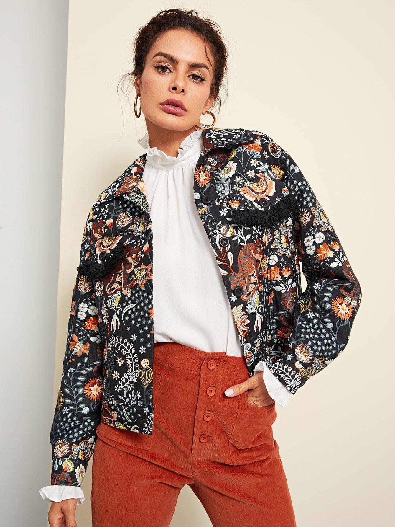 Pocket & Button Up Animal Print Jacket jacket180621703