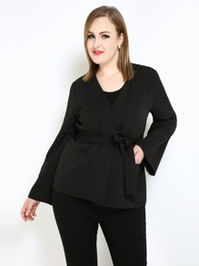 Plus Surplice Wrap Peplum Blazer
