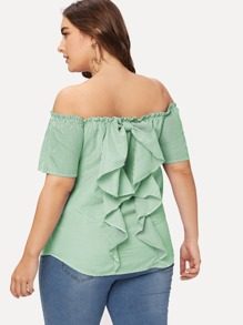 Plus Off Shoulder Ruffle Back Striped Top