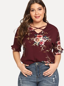 Plus Floral Print Criss Cross Top