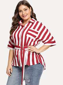 Plus Collar Striped Blouses