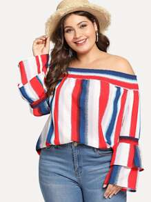 Plus Off Shoulder Colorblock Striped Blouses