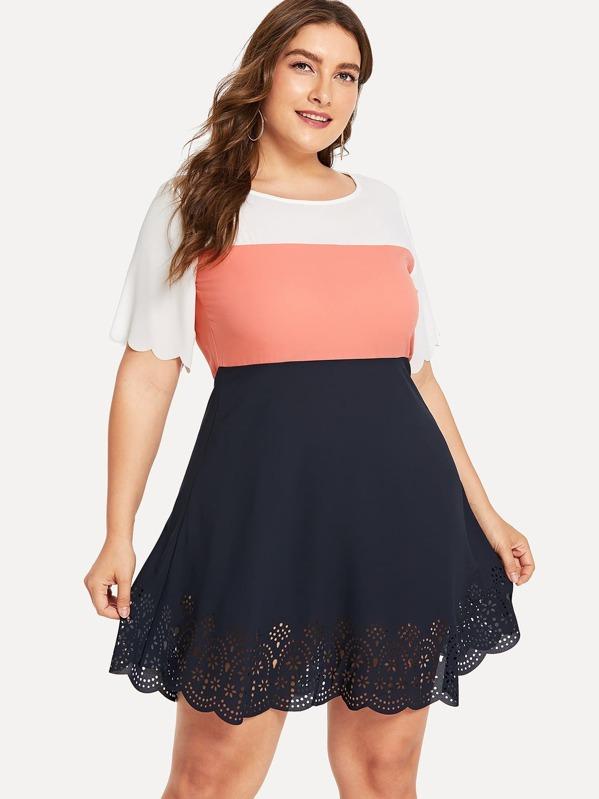 Plus Cut Out Colorblock Dress