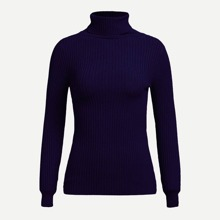 High Neck Rib Knit Slim Fitted Sweater