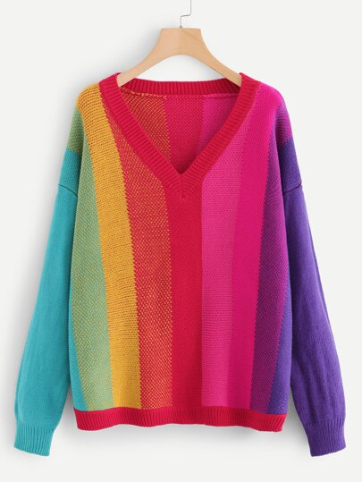 6edeaf7e8d2 V Neck Color Block Jumper