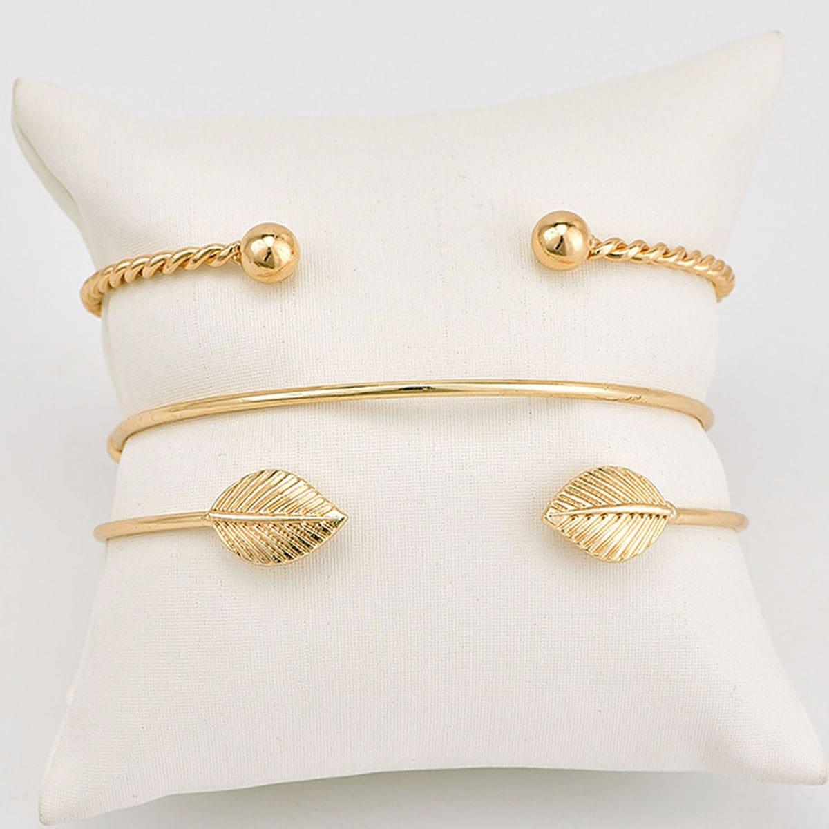 Streifen & Blatt Detail Manschette Armband Set 3pcs