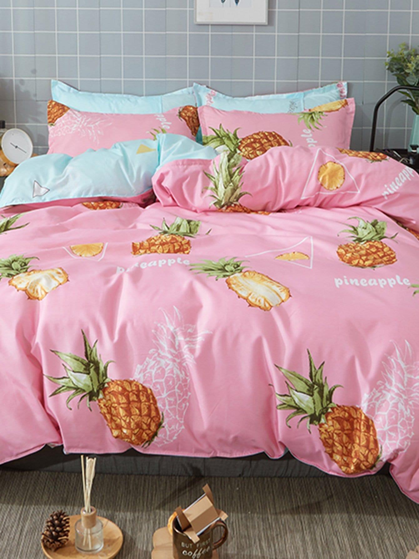 ensemble de housse de couette imprim des ananas french romwe. Black Bedroom Furniture Sets. Home Design Ideas