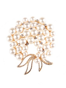 Faux Pearl Round Brooch