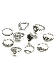Moon Detail Vintage Ring Set 10pcs