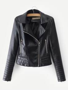 Faux Leather Croc Biker Jacket