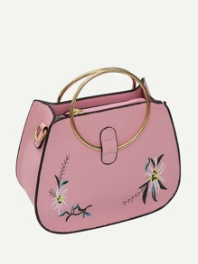 Floral Embroidered Bag With Ring Handle