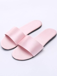 Satin Open Toe Flat Slippers