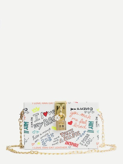 Slogan Print Chain Bag