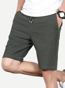 Men Houndstooth Drawstring Shorts