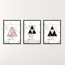 INOpets.com Anything for Pets Parents & Their Pets Geometry Painting Cloth Wall Art 3pcs