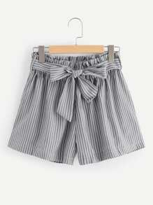 Plus Self Tie Waist Striped Shorts