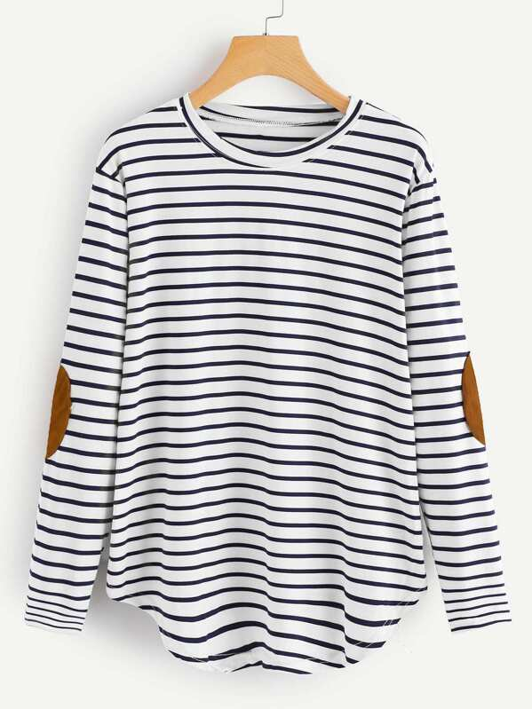 8e63adeae6 Cheap Elbow Patch Striped T-shirt for sale Australia | SHEIN