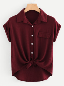 Plus Tie Front Solid Blouse