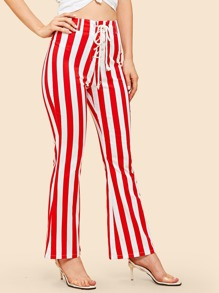 Lace Up Front Striped Pants