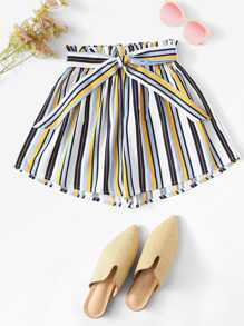 Plus Knot Detail Frill Trim Striped Shorts