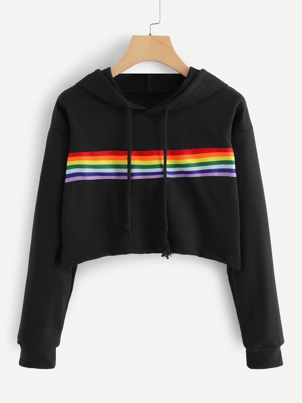 14ece8d11 Rainbow Print Sweatshirt | SHEIN UK
