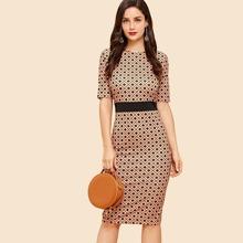 SHEIN   Geometric Print Dress   Goxip
