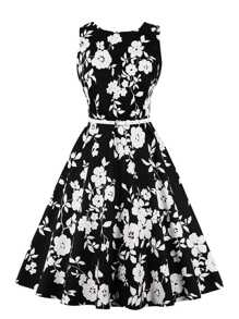 Floral Print Self Tie Waist Dress