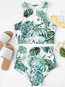 Random Palm Leaf Print Top With High Waist Tankini