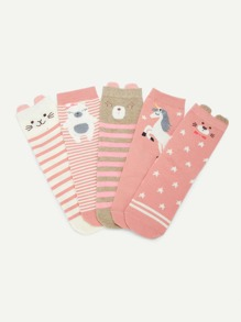 Animal Print Socks 5pairs