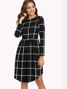 Smock Waist Curved Hem Grid Dress
