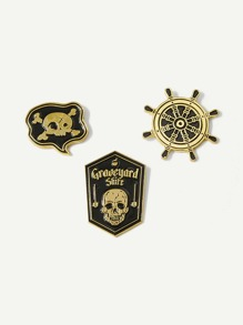 Rudder & Skeleton Brooch Set 3pcs