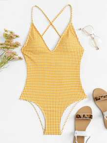Plus Gingham Criss Cross One Piece Swimsuit