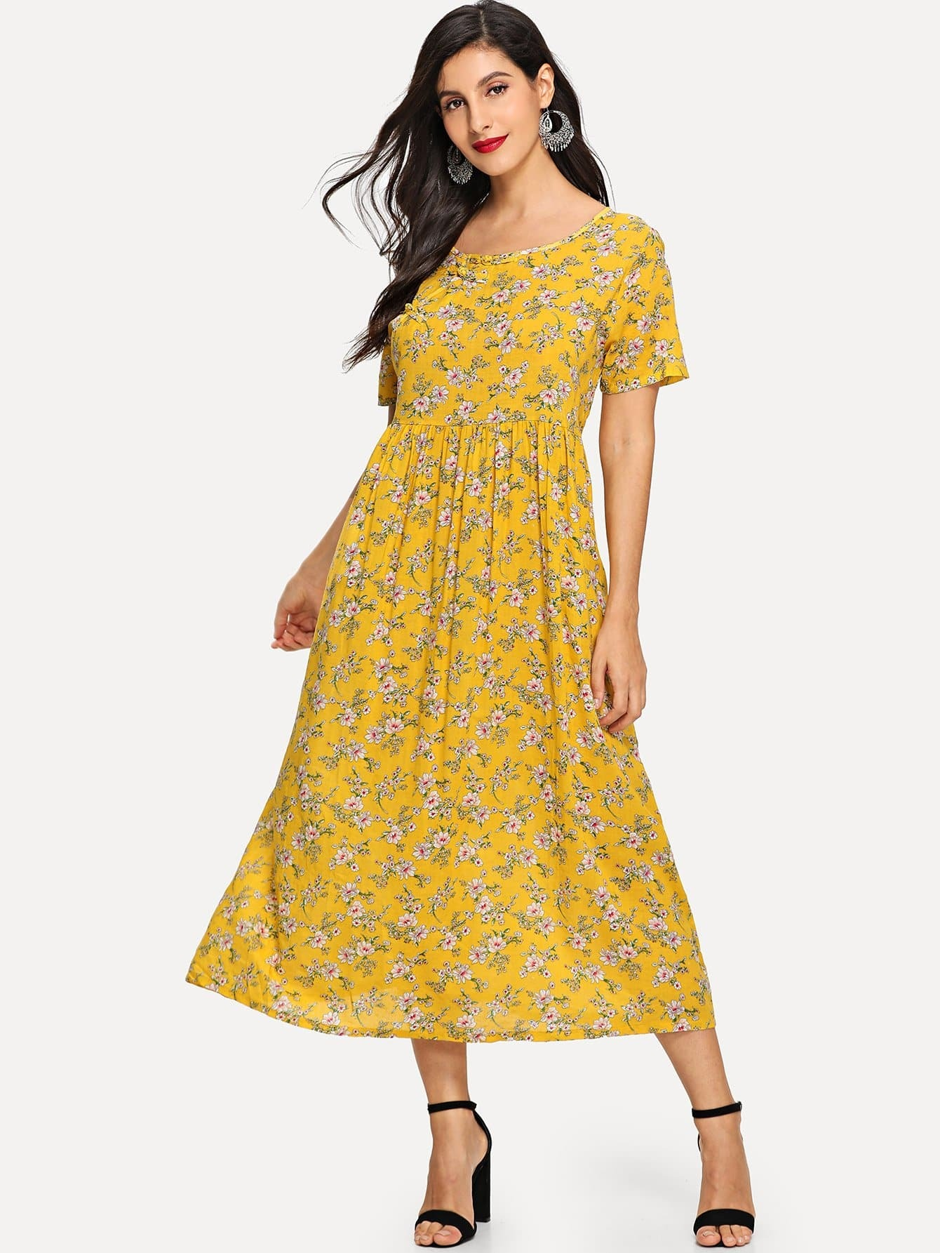 23c160ca39c Flower Print Longline Dress EmmaCloth-Women Fast Fashion Online