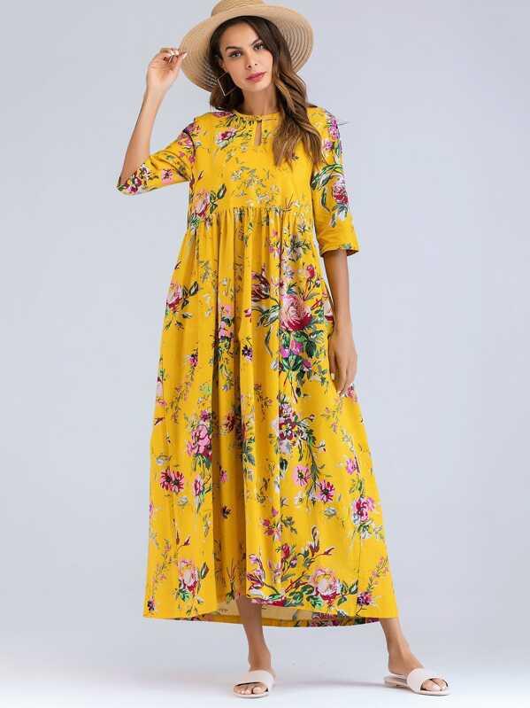 df5f303874798 Floral Print Smock Maxi Dress
