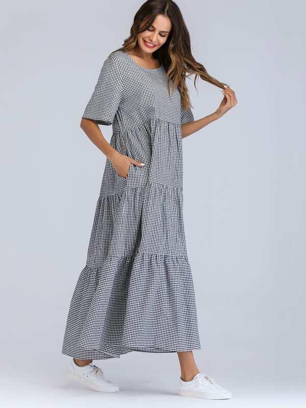 bc1e8a3f2594a فستان منقوشة بأكمام طويلة مع الشيكات