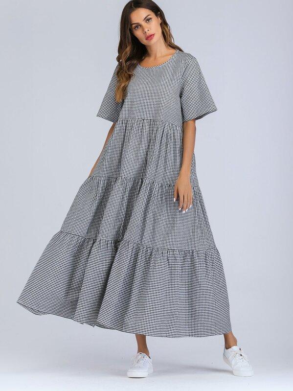 e8f4a59e2c Tiered Gingham Maxi Dress | SHEIN