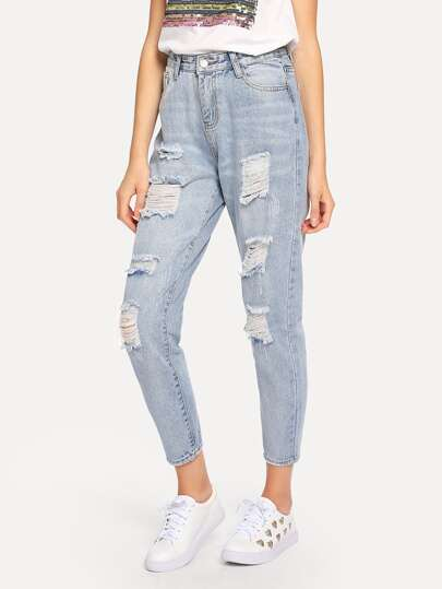 Ripped Bleach Wash Mom Jeans