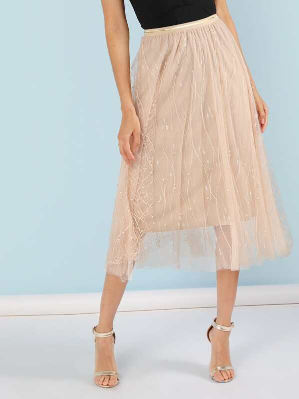 3e79d5bae8 Pearl Embellished Tulle Skirt | SHEIN