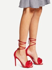 Lace Up Ruffle Decor Heeled Sandals