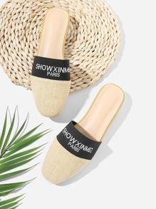 Slogan Panel Straw Flat Mules