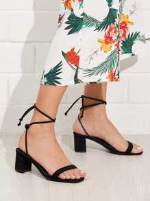Lace Up Block Heeled Sandals