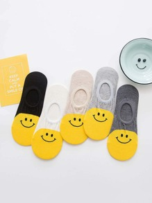Smile Print Invisible Socks 5pairs