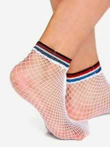 Striped Hem Fishnet Socks
