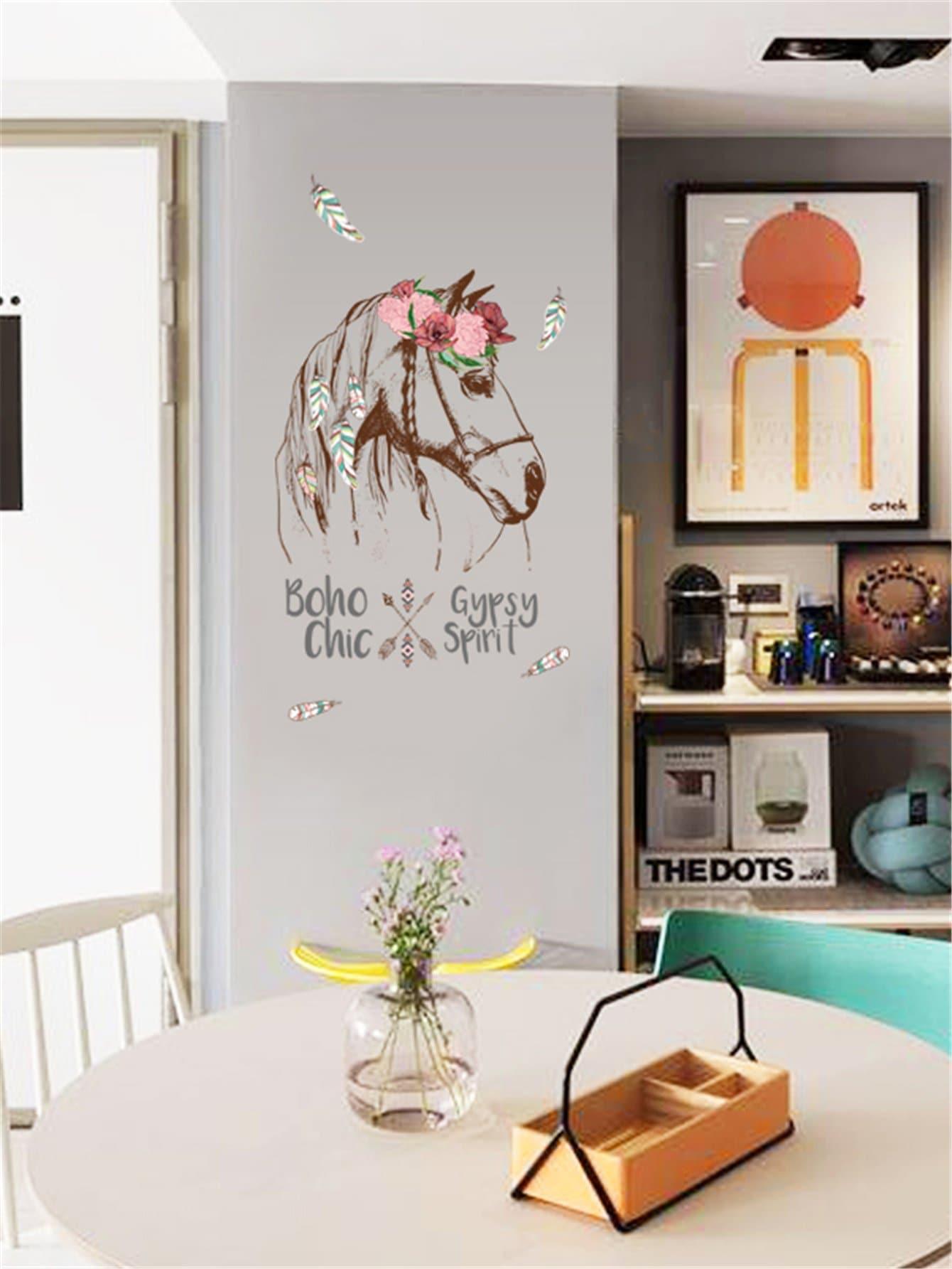 Horse & Flower Wall Sticker