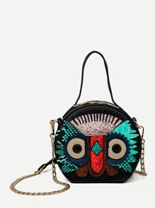 Owl Design Round Shaped Chain Bag