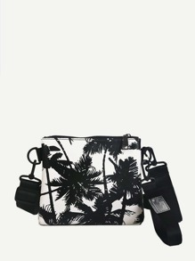 Coconut Tree Print Bag With Wristlet