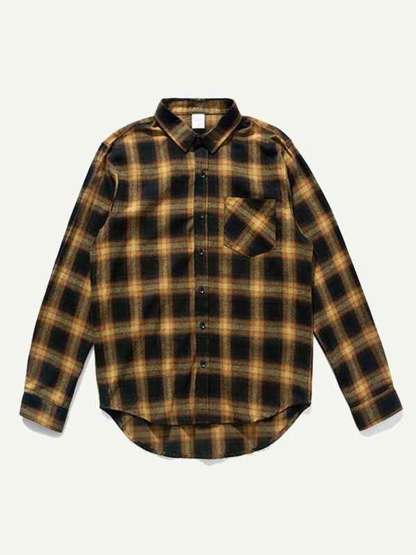 643a161563 Men Red Rope Decoration Plaid Shirt